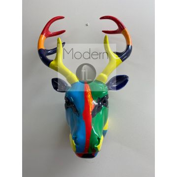 Contemporary oil painted stags head wall ornament, multi coloured stag head