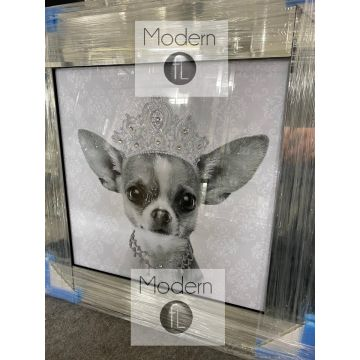 Silver grey chihuahua with crown and necklace glitter detail in mirrored frame
