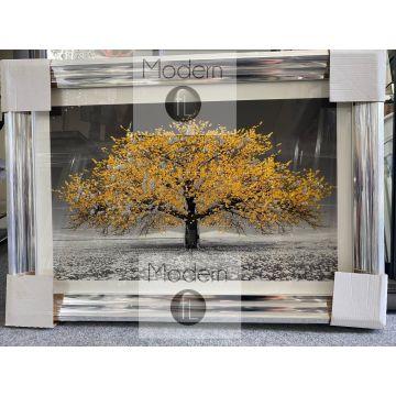 Mustard yellow blossom 3D glitter art, Small glitter tree chrome wood frame