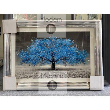 Royal blue blossom 3D glitter art, Small blue glitter tree chrome wood frame