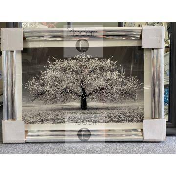 Silver Blossom 3D glitter art,Small silver glitter tree silver chrome wood frame