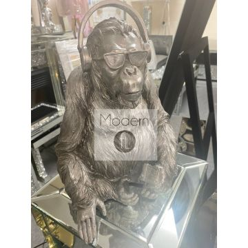 Silver electroplated gorilla with sunglasses and headphones ornament, silver ape