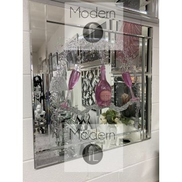 Moet Champagne and flutes 3D glitter art mirrored picture, Mirrored Frame