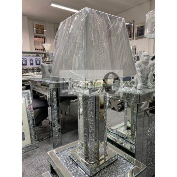 Luxury mirrored diamond table lamp with glitz sparkle pillars, silver mirror table lamp