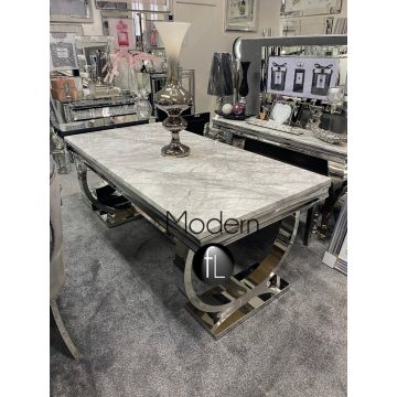 Ariana 1.8m Grey marble dining table
