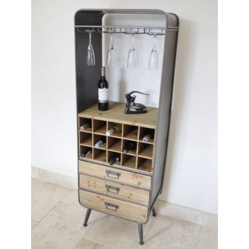 Industrial style free standing wine cabinet