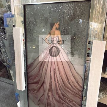 Lady in Pink Dress Picture on Mirror Frame with Glitter Detail