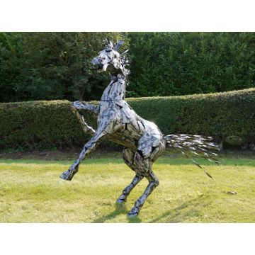Large rearing horse garden statue