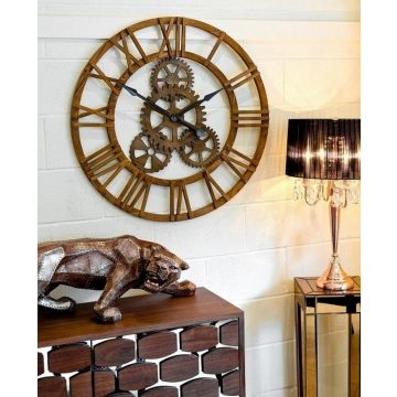 Large wooden wall clock with cog design