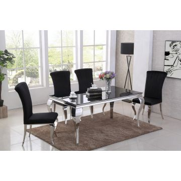 Black glass Louis dining table 1.6m wide with curved chrome leg & 4 chairs
