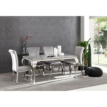 Grey Marble Louis dining table 1.6m wide with curved chrome leg & chairs option-Table and 4 chairs-6 chairs