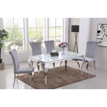 White glass Louis dining table 1.6m curved chrome leg & 6 grey chairs