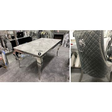 1.6 Marble Louis Table with Lion Knocker chairs, chair options