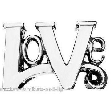 Love letter ornament, ceramic silver chrome love ornament
