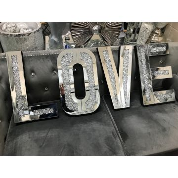 Love Letter Mirror and Crushed Crystal Wall Ornament