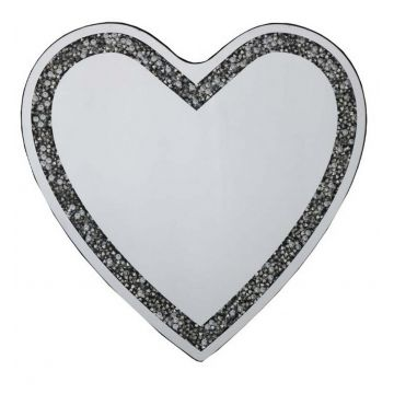 Crushed diamond love heart mirror