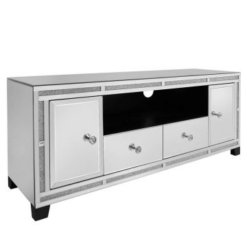 Luxury large mirrored crushed crystal tv stand
