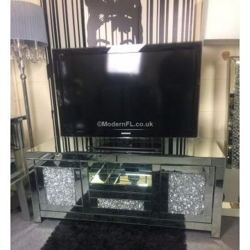 Luxury mirrored crushed crystal TV stand