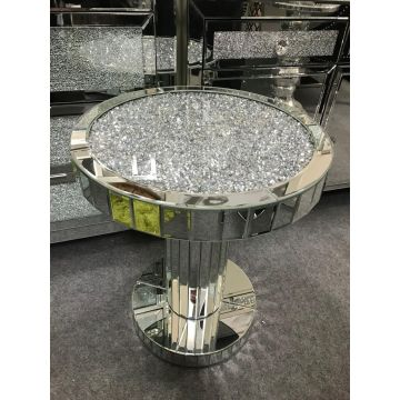 Luxury round crushed diamond side table