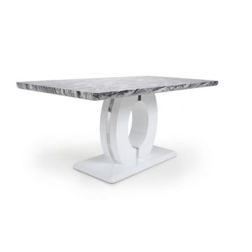Grey and white marble effect dining table