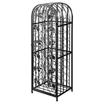 Matt black antique style freestanding wine rack