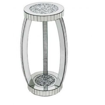 Mirrored Glitz side table with crushed diamond top and curved pillar