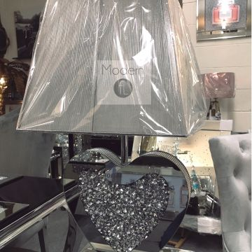 Stunning mirrored crushed crystal love heart table lamp with silver ribbed shade