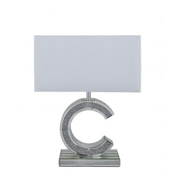Mirrored crushed diamond c table lamp with white shade