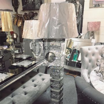 Mirrored and crushed diamond floor lamp with grey shade