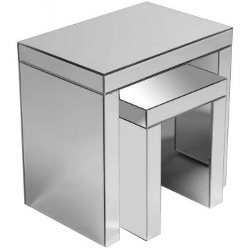 Contemporary Mirrored Nest of 2 Tables