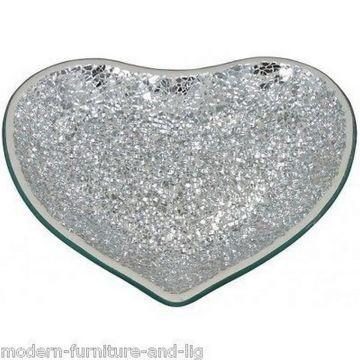Mosaic mirrored silver love heart tray, silver mosaic heart dish, crackle dish