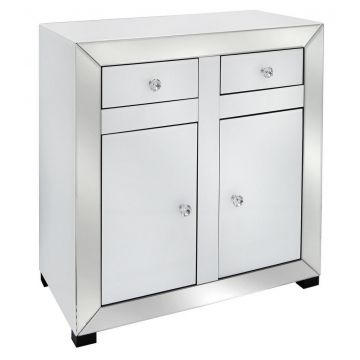 Venetian white mirror glass small sideboard