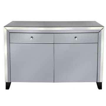Smoked grey mirror glass sideboard