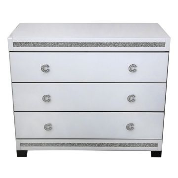 White mirror glass bedroom drawers with crushed crystal C handle