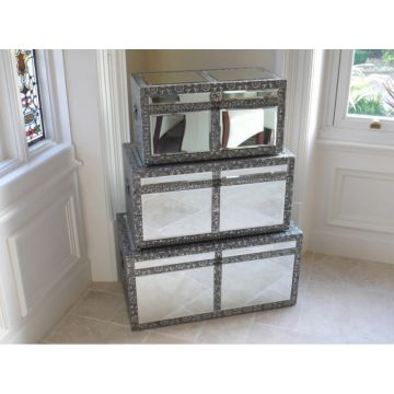 Set of 3 Embossed Mirrored Storage Trunks