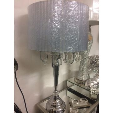New crystal droplet 4 light table lamp silver shade