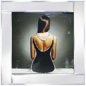 Lady in Black Backless Dress Glitter Picture