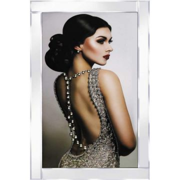Lady in Silver Backless Dress Glitter Picture