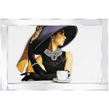 Lady in Black Dress and Hat with Bow Glitter Picture