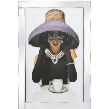 Lady in Hat with Teacup Glitter Picture