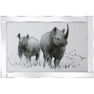 Rhinos in the Grass Glitter Picture