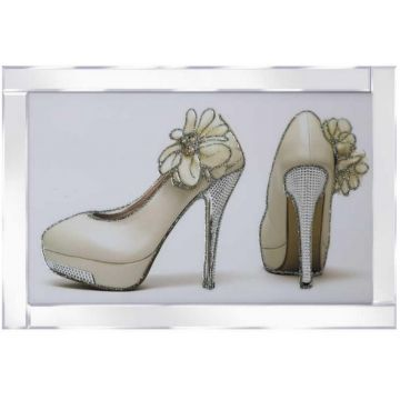 Yellow Flower Heels Glitter Picture