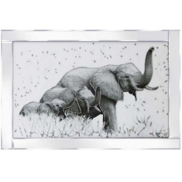 Elephant Family Glitter Picture