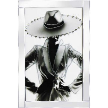 Lady in Suit with Diamante Hat Glitter Picture