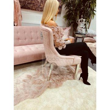 2x Pink blush French Velvet Dining Chairs, Lion Head Door Knocker chrome leg