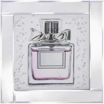 60 x 60 Pink Perfume Picture on Mirror Frame with Glitter Detail