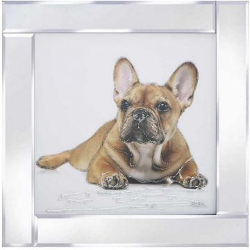 French Bulldog Puppy Picture on Mirror Frame with Glitter Detail