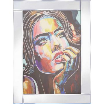Abstract Coloured Lady Picture on Mirror Frame with Glitter Detail