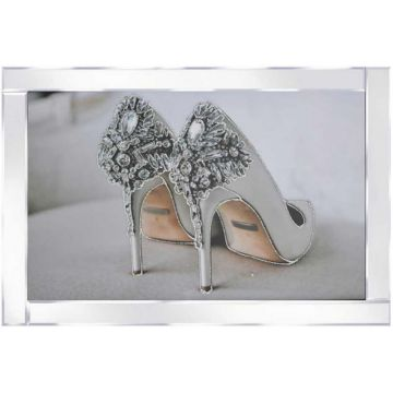 Delicate Stiletto High Heel Picture on Mirror Frame with Glitter Detail