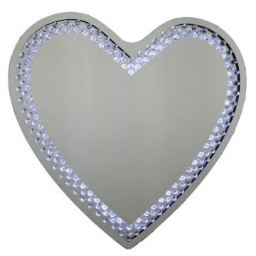 Silver Floating Crystal LED Light Up Heart Shaped Wall Mirror